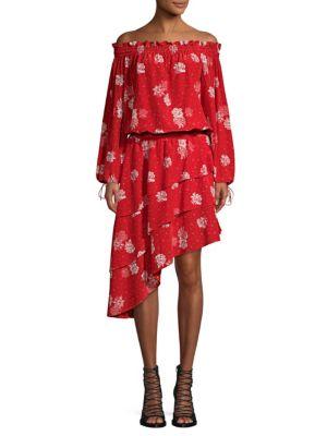 Silk Off-The-Shoulder Rose-Print Dress, Red