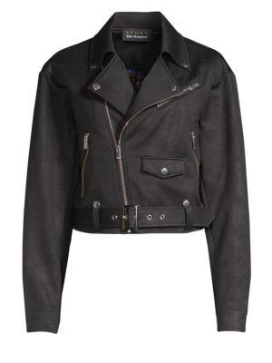 Faux Leather Moto Jacket, Black