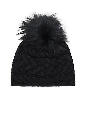 fcb231a82 Portolano - Cable Knit Fox Fur Pompom Hat
