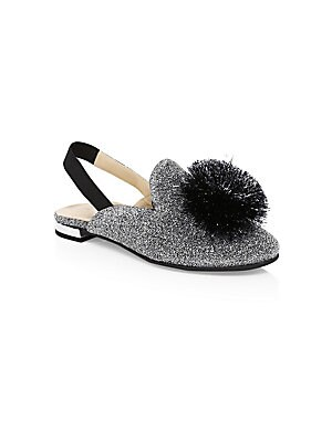 Image of Metallic slingback sandals with a dramatic pom pom embellishment Textile, polyamide, polyester and elastane upper Round toe Slip-on style Synthetic lining and sole Made in Italy. Children's Wear - Children's Shoes > Saks Fifth Avenue. Aquazzura Mini. Colo
