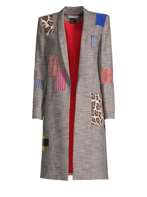 Woman Kylie Patchwork Prince Of Wales Checked Woven Jacket Multicolor in Black