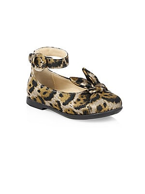 Image of Exotic leopard print accentuates delicate bow on slingback ballet flaps Polyester upper Round toe Adjustable ankle buckle closure Synthetic lining and sole Made in Italy. Children's Wear - Children's Shoes. Aquazzura Mini. Color: Caramel. Size: 20 EU/ 4 U