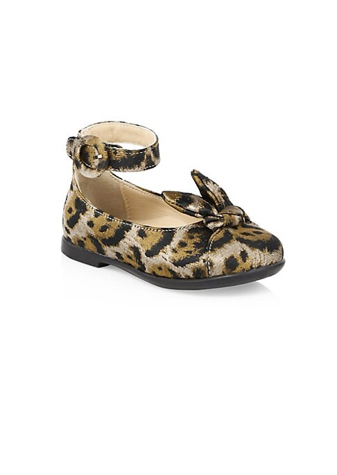 Image of Exotic leopard print accentuates delicate bow on slingback ballet flaps. Polyester upper. Round toe. Adjustable ankle buckle closure. Synthetic lining and sole. Made in Italy.