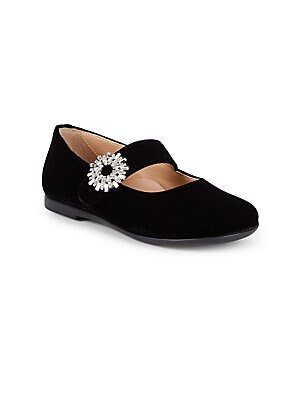 Image of Embellished flower buckle adds elegance to ballet flats Silk, viscose, cotton and crystal upper Round toe Slip-on style Synthetic lining and sole Made in Italy. Children's Wear - Children's Shoes. Aquazzura Mini. Color: Black. Size: 21 EU/ 5 US (Baby).