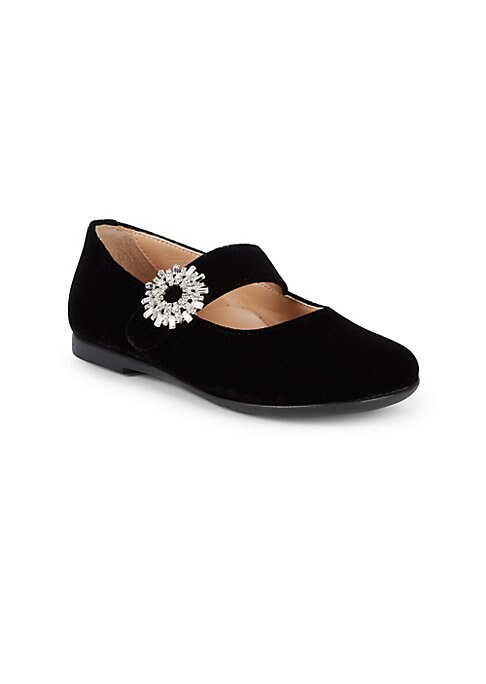 Image of Embellished flower buckle adds elegance to ballet flats. Silk, viscose, cotton and crystal upper. Round toe. Slip-on style. Synthetic lining and sole. Made in Italy.