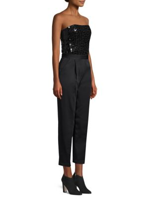 Alice + Olivia Jeri Embellished Strapless Jumpsuit, Black