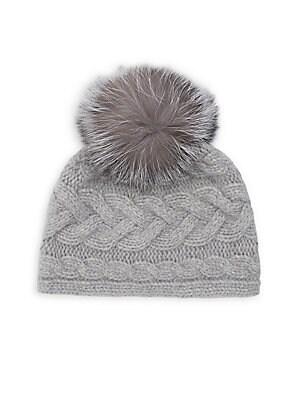 ad3abab5e Portolano - Cable Knit Fox Fur Pom Pom Cashmere Beanie
