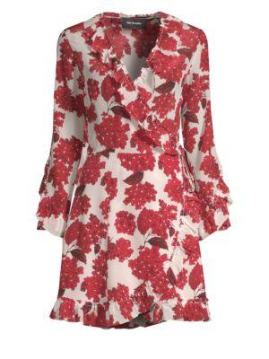 Silk Hortensia-Print Ruffled Wrap Dress in Red 22