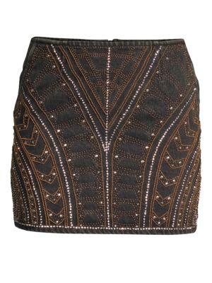 Embellished Denim Mini Skirt, Black