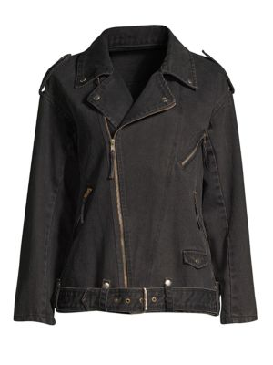 Beaded Denim Moto Jacket, Black