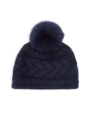 Portolano Beanies Cable Knit Fox Fur Pom Pom Cashmere Beanie