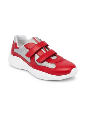 Prada Amercia S Cup Leather Technical Fabric Sneakers