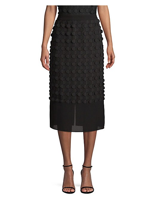 "Image of Airy 3D textured skirt with sheer bottom panel. Banded waist. Concealed back zip closure. Back vent. Lined. Straight silhouette. LIned. Polyester. About 31.5"" long. Hand wash. Imported from Italian fabric."