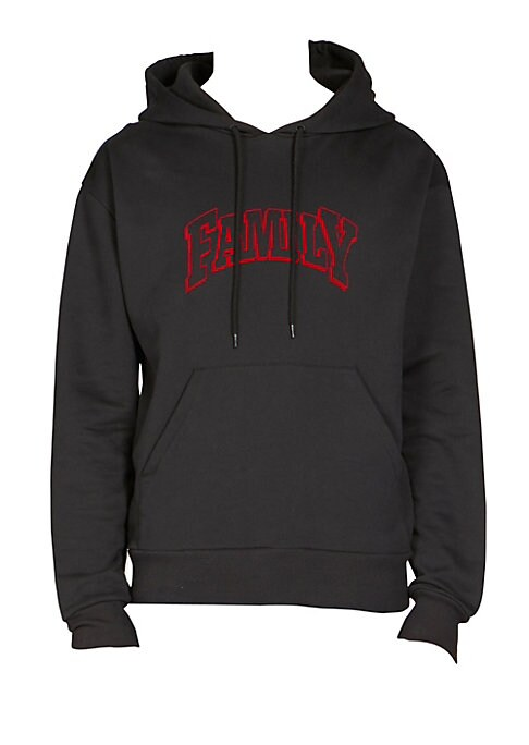 """Image of Casual cotton hoodie for work or play features Family graphic print. Attached drawstring hood. Long sleeves. Ribbed cuffs and hem. Kangaroo pocket. Pullover style. About 32"""" from shoulder to hem. Cotton. Machine wash. Made in Portugal."""
