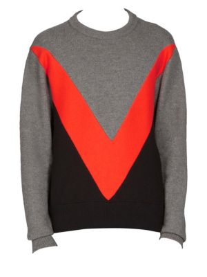 AMI ALEXANDRE MATTIUSSI Tricolor Crew Neck Sweater With Contrasted Bands in Grey