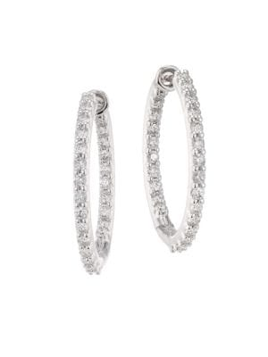 Hearts On Fire Hof Classics 18k White Gold Round Diamond Inside Out Hoop Earrings