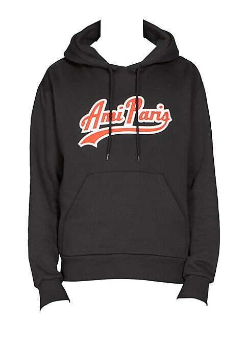 """Image of Casual Cotton hoodie for work or play features graphic print. Attached drawstring hood. Long sleeves. Ribbed cuffs and hem. Kangaroo pocket. Pullover style. About 30"""" from shoulder to hem. Cotton. Machine wash. Made in Portugal."""