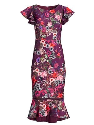 DAVID MEISTER Floral Flutter-Sleeve Flounce Dress in Magenta