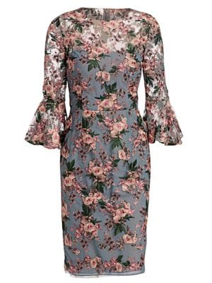 DAVID MEISTER Floral-Embroidered Lace Trumpet-Sleeve Sheath Cocktail Dress in Pink