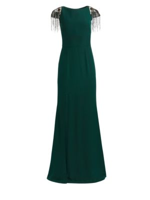 Cap Sleeve High Slit Gown by David Meister