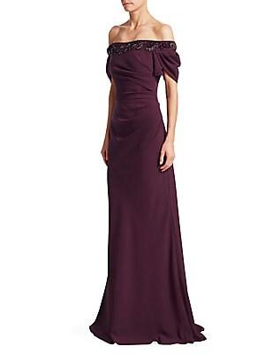 David Meister - Floor-Length Tiered Asymmetrical Hem Gown - saks.com