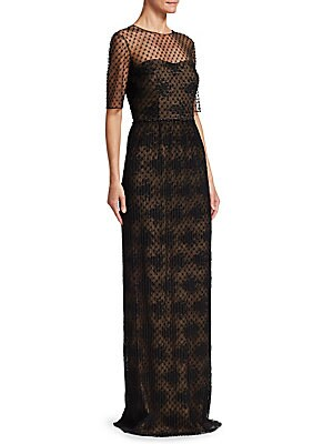 """Image of Ultra-chic gown pairing a beaded illusion neckline with lace and pleating Roundneck Elbow-length sleeves Concealed back zip closure Back slit Lined About 61"""" from shoulder to hem Polyester Dry clean Imported Model shown is 5'10 (177cm) wearing US size 4."""