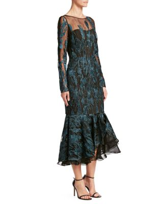DAVID MEISTER Long-Sleeve Metallic Embroidered Ruffle-Hem Dress in Blue/Black