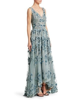 DAVID MEISTER V-Neck Gown W/ Floral Embroidery in Light Blue