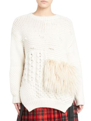 Round-Neck Alpaca-Blend Cable-Knit Sweater W/ Faux-Fur Patch in Cream/Cream
