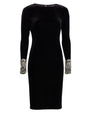 Velvet Long-Sleeve Dress W/ Beaded Cuffs, Black