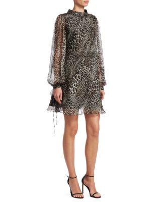 Badgley Mischka Silks Leopard Print Long-Sleeve Silk Trapeze Dress