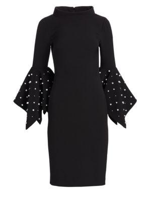 Platinum Beaded Flare Cuff Sheath Dress, Black