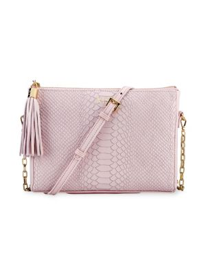 Gigi New York Hailey Crossbody Python Leather Tassel Bag