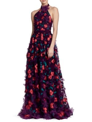 Embellished Floral Print Halter Dress by Marchesa Notte
