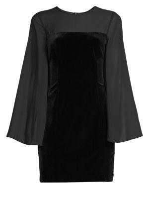 AIDAN MATTOX Bell-Sleeve Velvet & Chiffon Bodycon Mini Cocktail Dress in Black