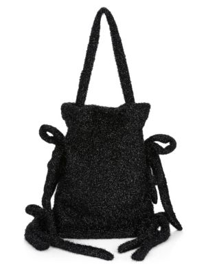 Bow Accent Tinsel Drawstring Bag in Black