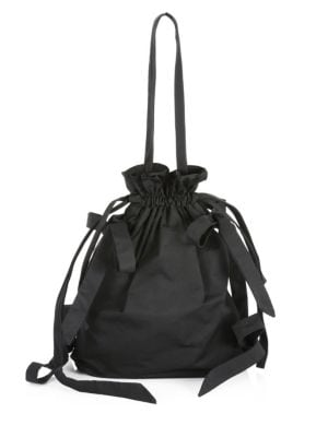 Bow-Detail Taffeta Shoulder Bag, Black