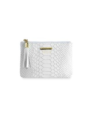 Gigi New York Personalized Embossed Leather Small Zip Pouch