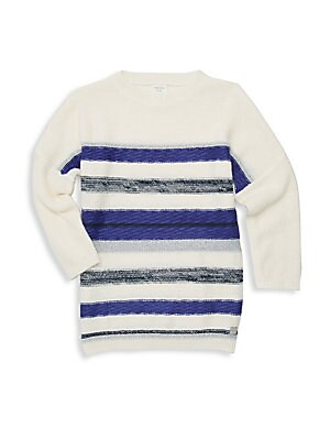 Image of Stripes of varying widths are enhanced by pops of glitter on this playful pullover sweater. Crewneck Long sleeves Ribbed cuffs and hems Pullover style Cotton/viscose/polyamide/wool Machine wash Imported. Children's Wear - Classic Children > Saks Fifth Ave