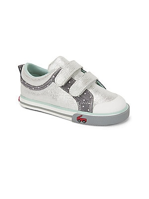 Image of On-trend leather sneakers with dotted and metallic design Grip tape with hook-and-loop closure Leather upper Canvas lining Rubber sole Imported. Children's Wear - Children's Shoes. See Kai Run. Color: Silver. Size: 4 (Baby).
