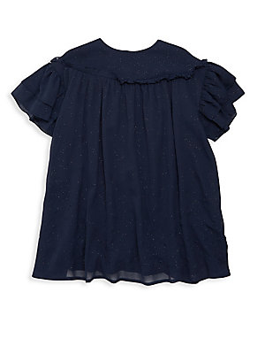 Image of Airy embroidered design with flutter sleeves Roundneck Short flutter sleeves Back zip closure Polyester Machine wash Imported. Children's Wear - Classic Children > Saks Fifth Avenue. Carrément Beau. Color: Bleu C. Size: 8.