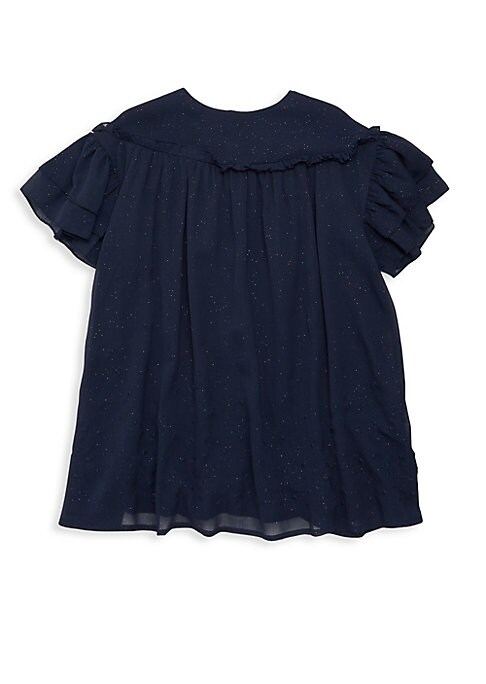 Image of Airy embroidered design with flutter sleeves. Roundneck. Short flutter sleeves. Back zip closure. Polyester. Machine wash. Imported.