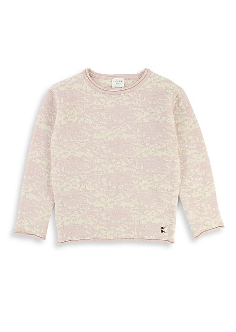 Image of Pretty jacquard knit with sparkling threads. Roundneck. Long sleeves. Rolled knit trim. Logo patch. Pull-on style. Acrylic/polyester/polyamide/elastane. Machine wash. Imported.