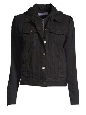 Janis Cotton Denim Hooded Jacket, Black