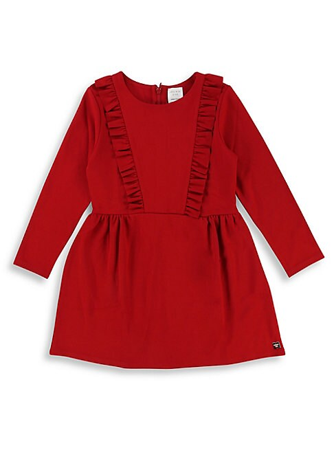 Image of Cute ruffled top flows to a pleated waist skirt. Roundneck. Long sleeves. Concealed back zip closure. Ruffle trim. Logo patch. Viscose/polyester/elastane. Machine wash. Imported.
