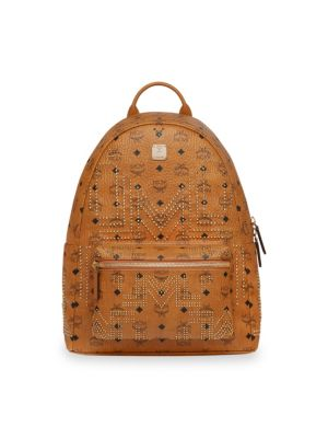 MCM Men'S Stark Gunta Medium Studded Backpack, Cognac