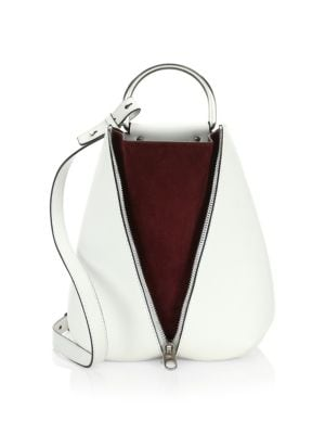 Vertical Zip Leather Backpack - White