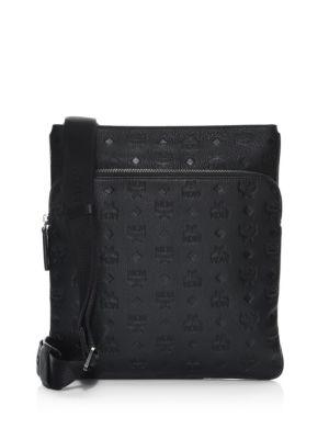 MCM Ottomar Monogram Leather Messenger Bag, Black