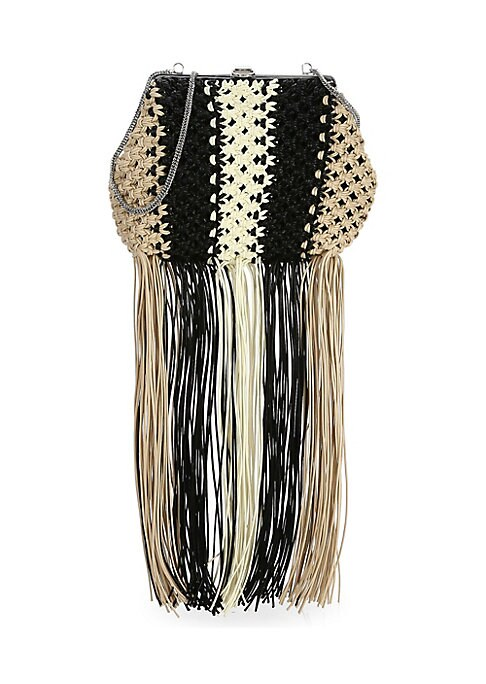"""Image of 1970s-inspired macrame defines this fringe shoulder bag that can also be carried as a clutch. Top snap clasp. Silvertone hardware. One interior compartment. Cotton. Made in Italy. SIZE. Shoulder chain, 15.5"""" drop.11.5""""W x 8.5""""H x 4""""D."""