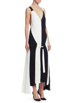 TRE BY NATALIE RATABESI Wallace Colorblocked Zipper Gown in Black-White